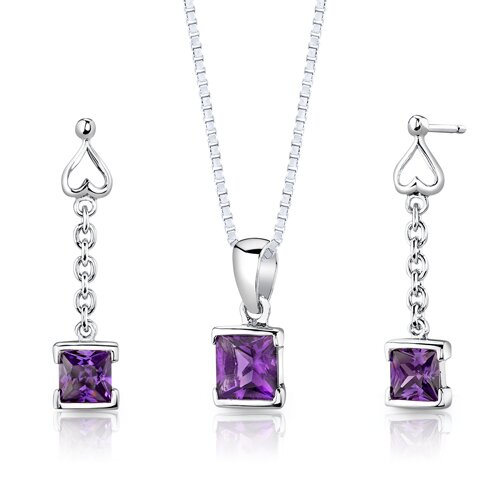 Sterling Silver 2.00 Carats Princess Cut Amethyst Pendant Earrings and 18