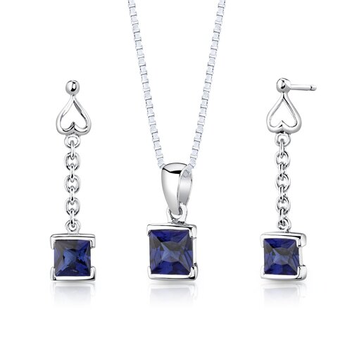 Sterling Silver 2.75 Carats Princess Cut Sapphire Pendant Earrings and 18