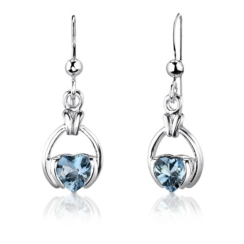 "Oravo Sterling Silver 2.25 Carats Heart Shape Swiss Blue Topaz Pendant Earrings and 18"" Necklace Set"