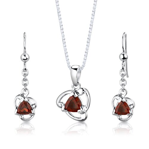 Sterling Silver 2.00 Carats Trillion Cut Garnet Pendant Earrings and 18