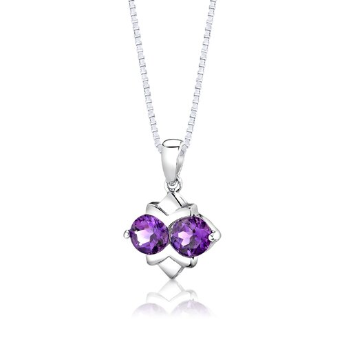 "Oravo Sterling Silver 3.25 Carats Round Shape Amethyst Pendant Earrings and 18"" Necklace Set"