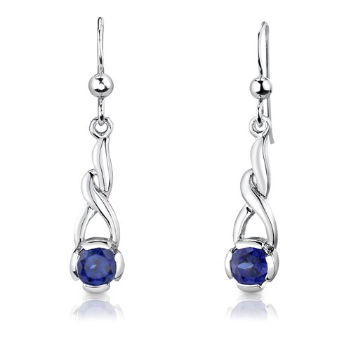 "Oravo Sterling Silver 1.25"" Round Shape Sapphire Pendant Earrings and 18"" Necklace Set"