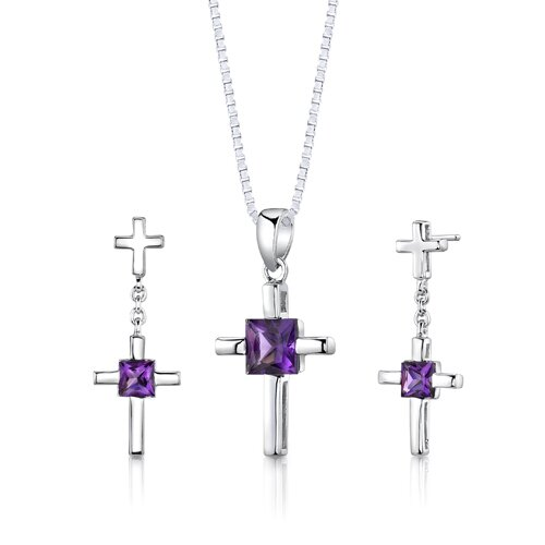 Sterling Silver Cross Design 2.00 Carats Princess Cut Amethyst Pendant Earrings and 18