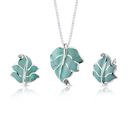 Summer Perfection Sterling Silver Turquoise Leaf Pendant and Earrings Set