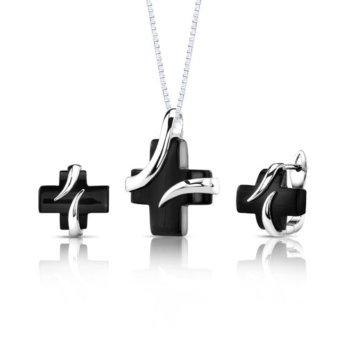 Inspired Celebration Sterling Silver Celebrity Inspired Black Onyx Cross Pendant and Earrings Set