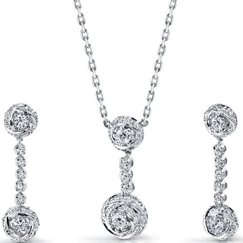 Precious Extravagance Sterling Silver Rose Necklace Earrings Set with Cubic Zirconia
