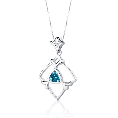 Oravo Artful 1.75 Carats Trillion Cut Sterling Silver London Blue Topaz Pendant Earrings Set