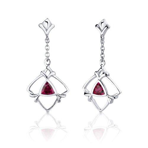Oravo Artful 2.25 Carats Trillion Cut Sterling Silver Ruby Pendant Earrings Set
