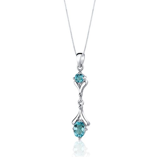 Oravo Oval Round Combination 2.75 Carats Sterling Silver Swiss Blue Topaz Pendant Earrings Set
