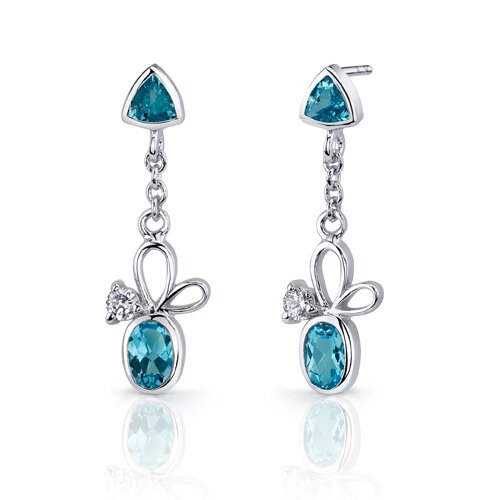 Oravo Dynamic 3.25 Carats Trillion and Oval Cut Sterling Silver Swiss Blue Topaz Pendant Earrings Set
