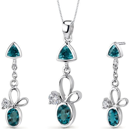 Oravo Dynamic 3.25 Carats Trillion and Oval Cut Sterling Silver London Blue Topaz Pendant Earrings Set