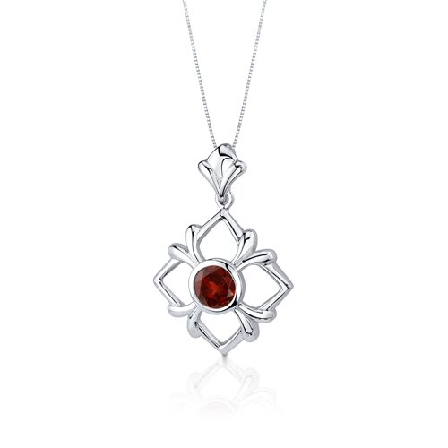 Oravo Floral Design 3.75 Carats Round Cut Sterling Silver Garnet Pendant Earrings Set