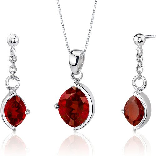 Oravo Museum Design 5.75 Carats Marquise Cut Sterling Silver Garnet Pendant Earrings Set