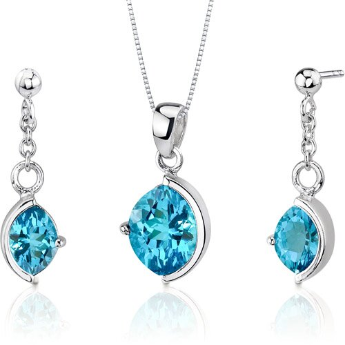 Museum Design 5.25 Carats Marquise Cut Sterling Silver Swiss Blue Topaz Pendant Earrings Set