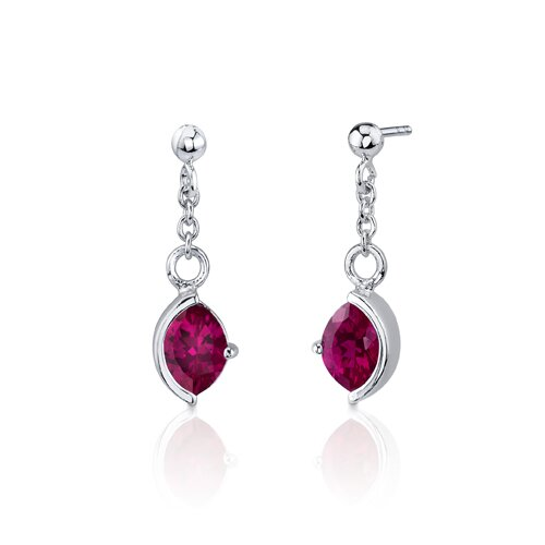 Oravo Museum Design 6 Carats Marquise Cut Sterling Silver Ruby Pendant Earrings Set