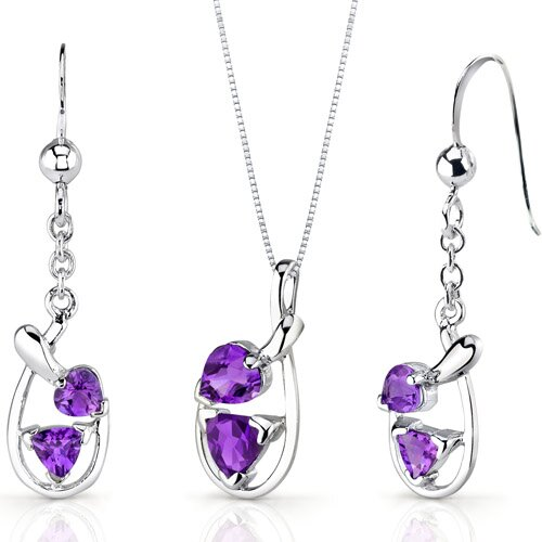Oravo Love Duet Trillion Heart Shape Sterling Silver Gemstone Pendant Earrings Set