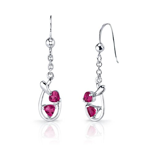 Oravo Love Duet 2.5 Carats Trillion Heart Shape Sterling Silver Ruby Pendant Earrings Set