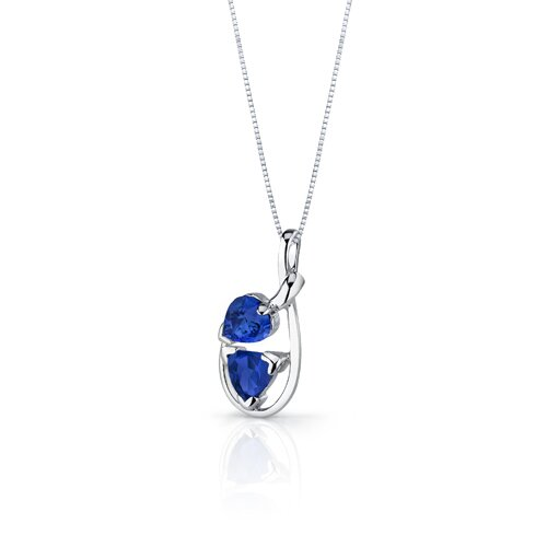 Oravo Love Duet 2.5 Carats Trillion Heart Shape Sterling Silver Sapphire Pendant Earrings Set