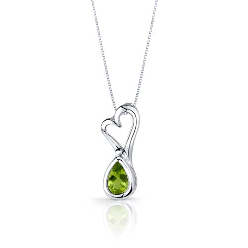Oravo Heart Design 1.75 Carats Pear Shape Sterling Silver Peridot Pendant Earrings Set