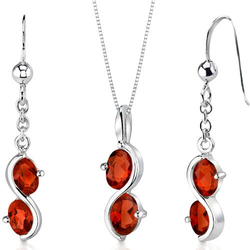 Oravo 2 Stone Oval Shape Sterling Silver Gemstone Pendant Earrings Set