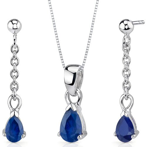 Oravo Dangling 2 Carats Pear Shape Sterling Silver Sapphire Pendant Earrings Set