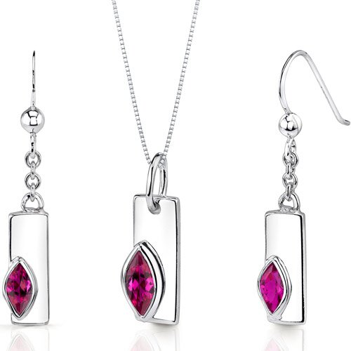 Oravo Art Deco 1.25 Carats Marquise Shape Sterling Silver Ruby Pendant Earrings Set