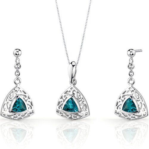 Oravo Filigree Design 1.5 Carats Trillion Cut Sterling Silver London Blue Topaz Pendant Earrings Set