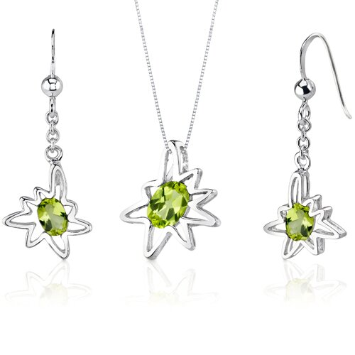 Oravo Starburst 1.75 Carats Oval Shape Sterling Silver Peridot Pendant Earrings Set