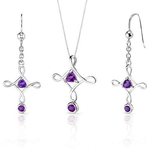 Oravo Cross Design 1.25 Carats Trillion Cut Sterling Silver Amethyst Pendant Earrings Set