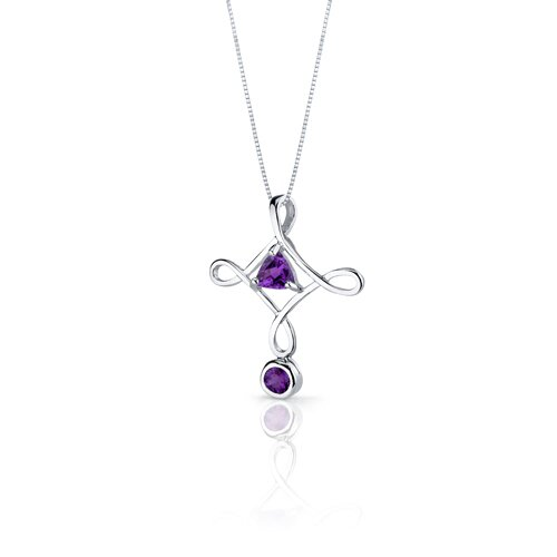 Oravo Cross Design 1.25 Carats Trillion Cut Sterling Silver Amethyst Pendant Earrings Set