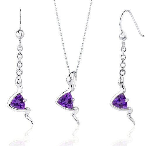 Oravo Contemporary Style Trillion Cut Sterling Silver Gemstone Pendant Earrings Set