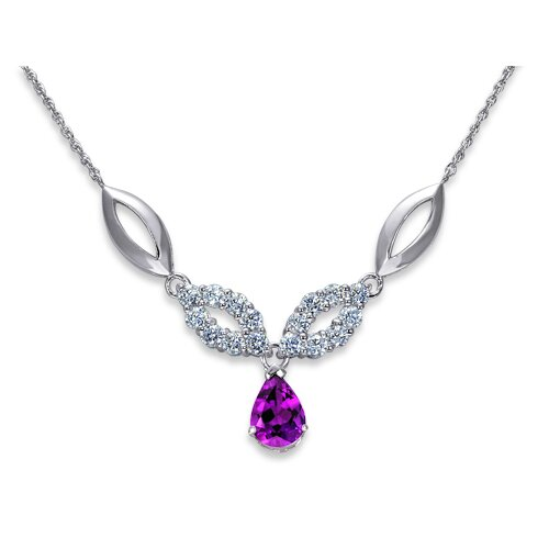Oravo Gorgeous 1.5 Carats Pear Shape Amethyst and Round Shape White CZ Gemstone Pendant Necklace in Sterling Silver