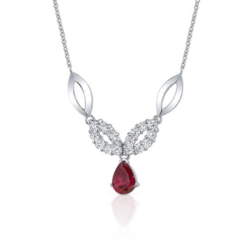 Oravo Gorgeous Pear Shape Created Ruby and Round Shape White CZ Pendant Necklace in Sterling Silver