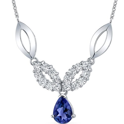 Gorgeous Pear Shape Created Sapphire and Round Shape White CZ Pendant Necklace in Sterling ...