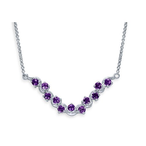 Oravo Exceptional 2.75 Carats Round Shape Amethyst Gemstone Pendant Necklace in Sterling Silver