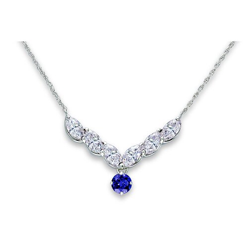 Oravo One of a Kind Round Shape Created Sapphire and Marquise Shape White CZ Pendant Necklace in Sterling Silver
