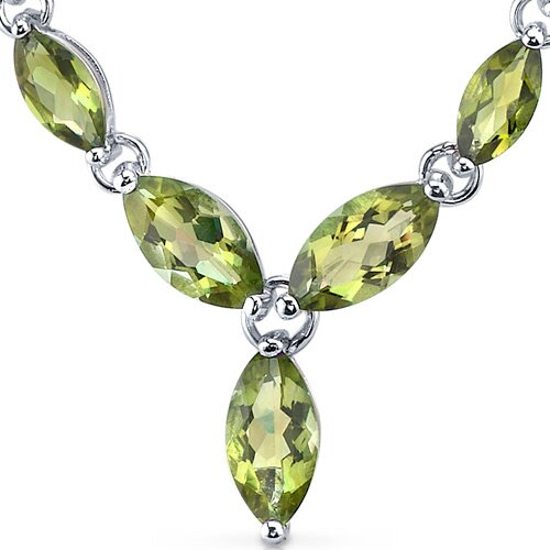 Oravo Marvellous 5.75 Carats Marquise Shape Peridot Multi-Gemstone Pendant Necklace in Sterling Silver
