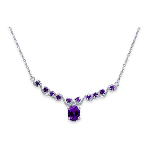 Trendy 2.5 Carats Oval and Round Shape Amethyst Multi-Gemstone Necklace in Sterling Silver