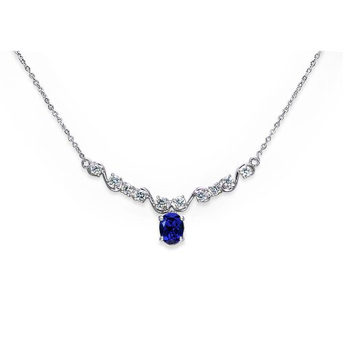 Trendy 3.5 Crats Oval Shape Created Sapphire and White CZ Pendant Necklace in Sterling Silver ...