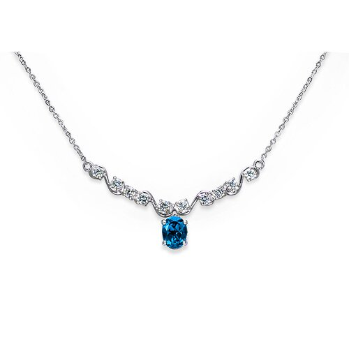 Trendy 2.25 Carats Oval Shape Swiss Blue Topaz and White CZ Gemstone Necklace in Sterling ...