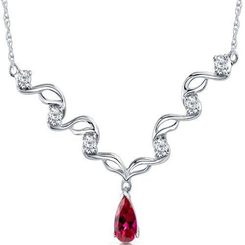 Eye Catchy Pear Shape Created Ruby and White CZ Pendant Necklace in Sterling Silver