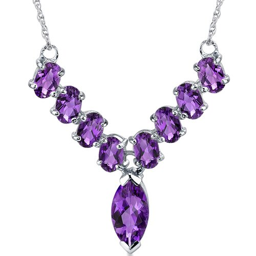 Bold and Beautiful 4.75 Carats Marquise and Oval Shape Amethyst Multi-Gemstone Necklace in ...