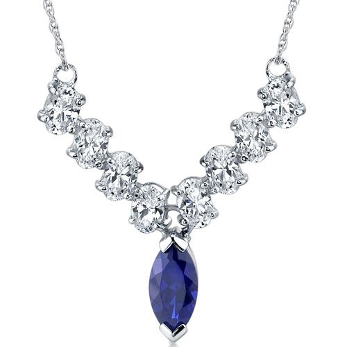 Oravo Bold and Beautiful Marquise Shape Created Sapphire and White CZ Pendant Necklace in Sterling Silver