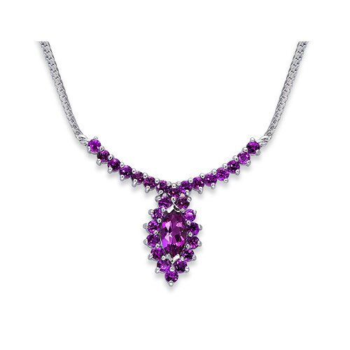 Oravo Majestic 4.25 Carats Marquise and Round Shape Amethyst Multi-Gemstone Necklace in Sterling Silver