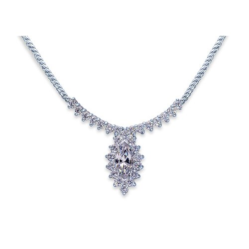 Majestic Marquise and Round Shape White CZ Gemstone Pendant Necklace in Sterling Silver