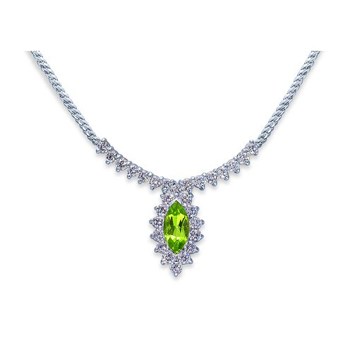Oravo Majestic 1.75 Carats Total Weigh Marquise Shape Peridot and White CZ Gemstone Necklace in Sterling Silver