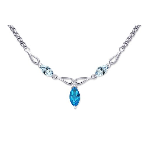 Oravo Attractive 1.75 carats Marquise Shape Swiss Blue Topaz and White CZ Gemstone Necklace in Sterling Silver