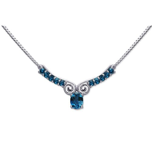 Oravo Chic 3.75 carats Oval and Round Shape London Blue Topaz Multi-Gemstone Necklace in Sterling Silver