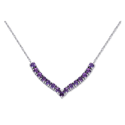 Oravo Elegant 2.25 carats Round Shape Amethyst Gemstone Pendant Necklace in Sterling Silver