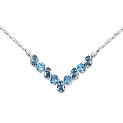 Oravo Trendy 5.75 carats Oval and Round Shape Multi-Gemstone Necklace in Sterling Silver